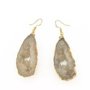 Jewelry - Brown druzy agata earring aguta